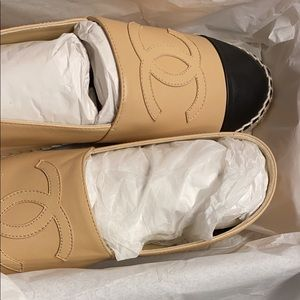 Brand new Chanel espadrilles beige and black w box